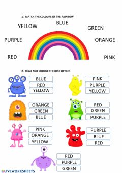 Interactive worksheet Colours of the rainbow