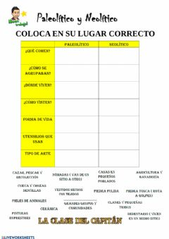 Interactive worksheet Paleolítico vs Neolítico