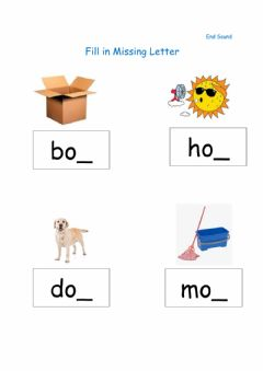 Interactive worksheet Fill in Missing Final Letter