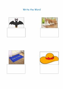Interactive worksheet Write the word - at family
