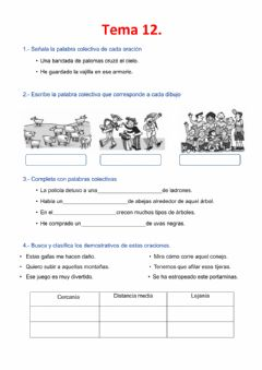 Interactive worksheet Lengua tema 12