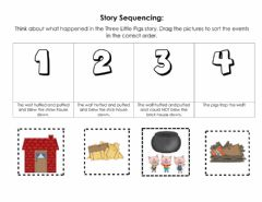 Ficha interactiva Three Little Pigs Story Sequence