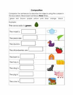 Interactive worksheet Adjectives of Colour