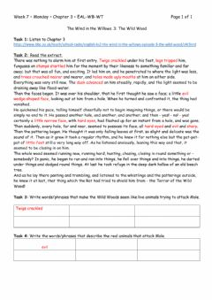 Interactive worksheet Wind in the Willows - Chapter 3