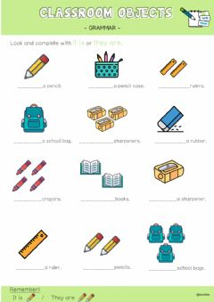 Interactive worksheet Classroom objects - it is - they are