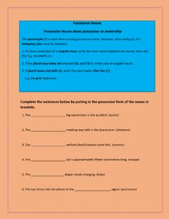 Interactive worksheet Possessive Nouns