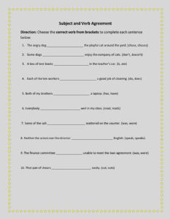 Interactive worksheet Subject and Verb Agreement 2