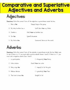Ficha interactiva Comparative and Superlative Adjectives and Adverbs (4th grade)