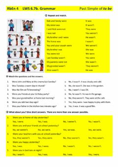 Interactive worksheet Verb to be in the Past