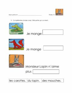 Interactive worksheet Que Mange tu ?