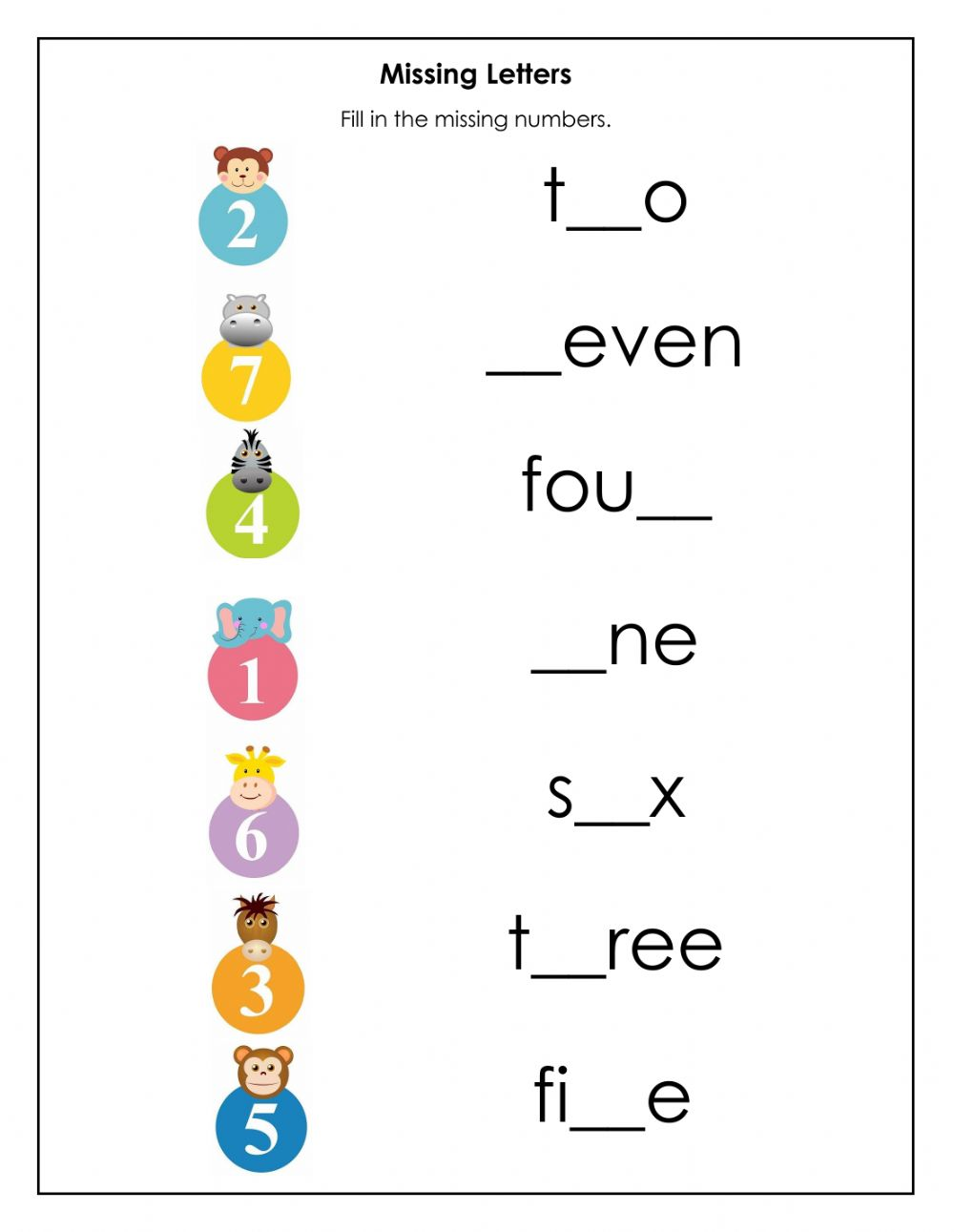 Missing Letters in Number Names - Interactive worksheet