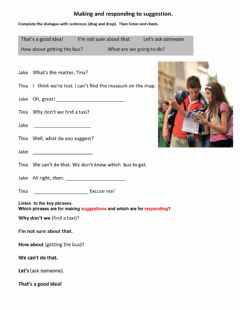 Interactive worksheet Making and responding to suggestion.