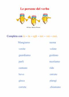 Interactive worksheet Le persone del verbo
