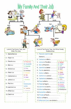 Interactive worksheet My family and their jobs