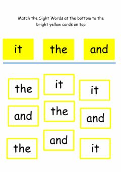 Interactive worksheet Match the sight words 1