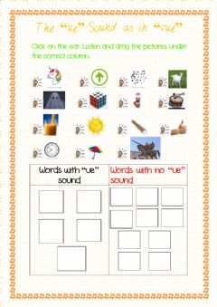 Interactive worksheet The -ue- Sound as in -Cue-