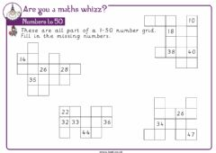 Interactive worksheet Numbers to 50 fill in the spaces