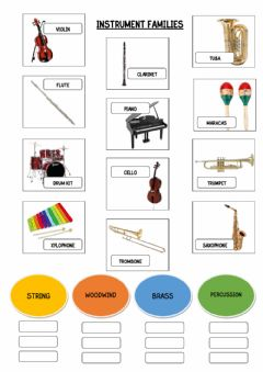 Interactive worksheet Instrument families