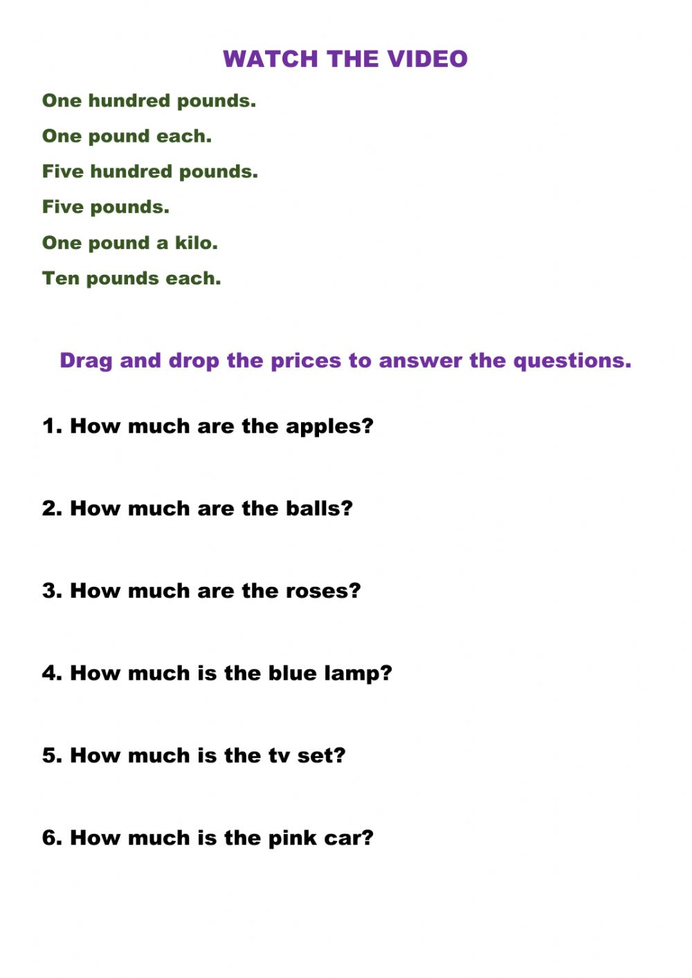 Watch the video. Answer the questions interactive worksheet