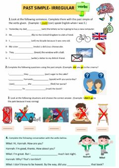 Interactive worksheet Past simple irregular verbs