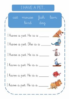 Interactive worksheet I have a pet.