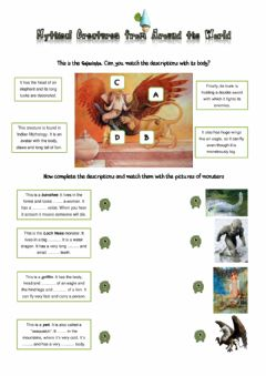 Interactive worksheet Mythical creatures from around the world