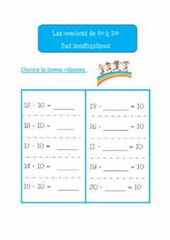 Interactive worksheet Les nombres de 10 à 20