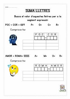 Interactive worksheet Suma lletres