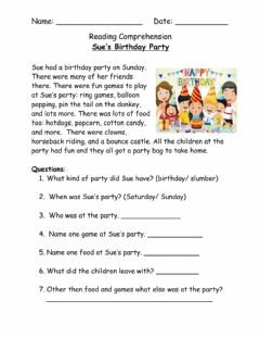 Interactive worksheet Sue's Birthday Party