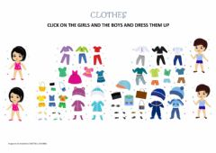 Interactive worksheet Clothes - Dress the chils