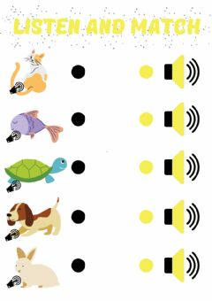 Interactive worksheet PETS. Listen and match