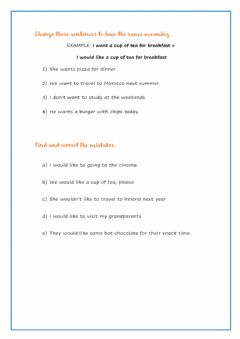 Interactive worksheet Would like - would like to