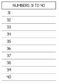 Interactive worksheet Numbers 30 to 40