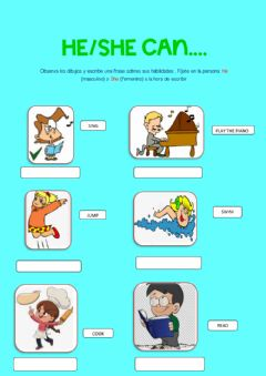 Interactive worksheet He-She can...