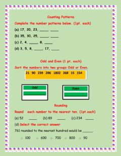 Interactive worksheet Counting Patterns