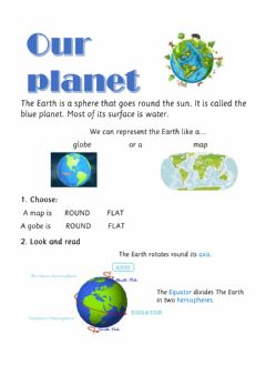 Interactive worksheet The earth- imaginary lines