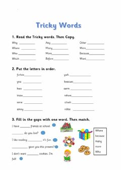 Interactive worksheet Tricky words- BLUE level