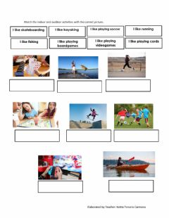 Interactive worksheet Indoor and outdoor activities