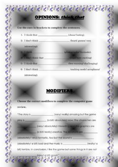 Interactive worksheet Opinions & Modifiers