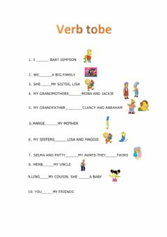 Interactive worksheet Verb to be+ the family