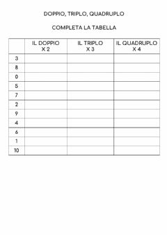 Interactive worksheet Doppio, triplo e quadruplo