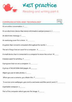 Interactive worksheet KET - Reading & Writing part 6