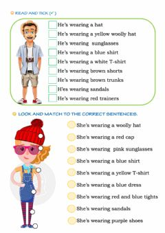 Interactive worksheet Boy and girl wearing clothes