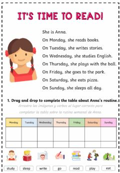 Ficha interactiva Routine easy reading