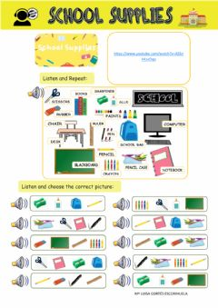Interactive worksheet Scool supplies