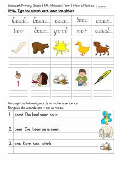 Ficha interactiva Grade 3: FAL Afrikaans Thursday ee klank Term 2 Week 4