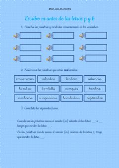 Interactive worksheet M antes de p y b