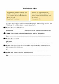 Interactive worksheet Verlustanzeige