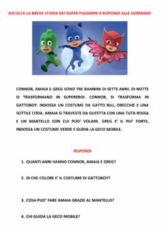 Interactive worksheet Comprensione del testo pj masks