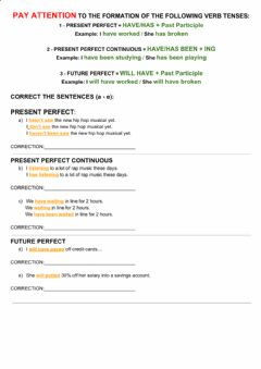 Interactive worksheet Upper a - verb tense correction